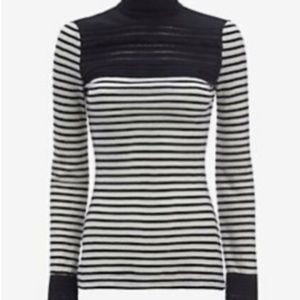 Yigal Azrouel Lace Stripe Wool Turtleneck sz 2 XS
